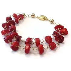 Red Coral Bracelet Multistrand Jewelry Box Clasp Gemstone Jewellery Fashion Statement Gold Wire Wrapped B-236