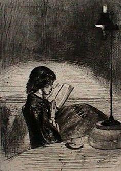 James Abbot Mc Neil Whistler - Lezen bij lamplicht, 1855