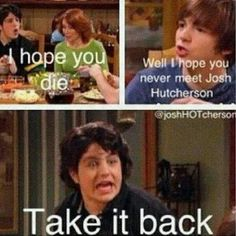 Its funny cause in reality, he did meet josh hutcherson...even did a movie with him