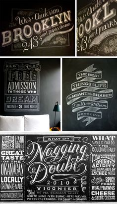 Glorious custom chalkboard typography by Dana Tanamachi