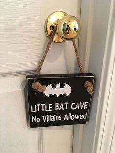 Adorable Rustic Little Bat Cave No Villains Allowed Wooden Superhero Door Sign for Little Boys Room Superhero Door, Superhero Boys Room, Batman Room, Batman Collectibles, Childrens Room Decor, Door Signs, Boy Room, Little Boys, Cave