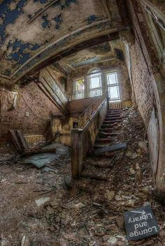 Whittingham Lunatic Asylum, Lancashire, England (abandoned) .  The second largest asylum in Europe. Built in 1869 and opened in 1873. Beautiful architecture. It is said to be haunted.