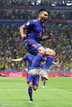 Radamel Falcao of Colombia celebrates after scoring his team's second goal during the 2018 FIFA World Cup Russia group H match between Poland and. Carlos Valderrama, Russia 2018, International Football, Fifa World Cup, Football Players, My Photos, Soccer, Running, Celebrities