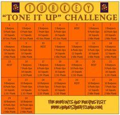 Turkey Tone It Up Fitness Challenge heandsheeatclean fitness workout exercise challenge fitnesschallenge 218354281919334684 Month Workout Challenge, November Challenge, Push Up Challenge, Workout Schedule, Workout Plans, Detox Challenge, Challenge Group, Thigh Challenge, Plank Challenge
