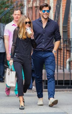 Olivia Palermo and Johannes Huebl spotted out for a stroll in New York City on April 13, 2014.