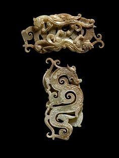 China. A Rare Two-Sided Dragon Pendant, Qin-Han Dynasties, 221 BCE - 220 CE. Jade