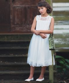 Look what I found on #zulily! Ivory Floral Lace Addison Dress - Toddler & Girls #zulilyfinds