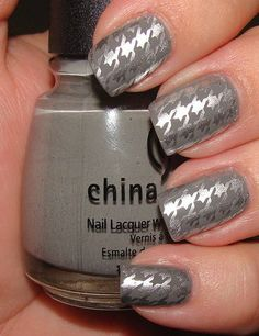 Houndstooth Konad Manicure with China Glaze Recycle and Millennium..Amazing