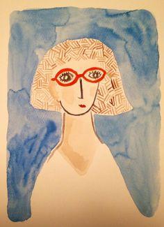 rumisu illustration self portrait with orange glasses #rumisu #illustration #selfportrait #watercolor