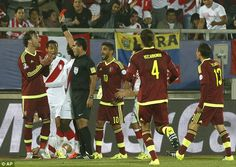 Venezuela were reduced to 10 men in the 26th minute after Fernando Amorebieta stamped on Paolo Guerrero. Copa America Chile 18.6.15
