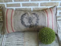 Red Stripe, Burlap, French Bee Pillow By Simply French Market - traditional - pillows - by Etsy French Rustic Decor, French Country Decorating, Country French, Country Style, French Pillows, Vintage Pillows, Burlap Pillows, Decorative Pillows, Traditional Pillows