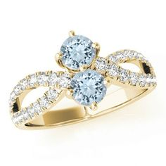 Aquamarine & Diamond Split Shank Two Stone Engagement Ring 14k Yellow Gold- Engagement Rings - Promise Rings, Aquamarine Jewelry Anniversary - Raven Fine Jewelers