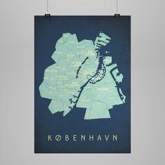 Klam - poster, Map of Copenhagen, Night