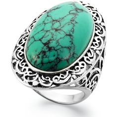 Manufactured Turquoise Oblong Oval Ring (18-1/2 ct. t.w.) in Sterling... ($120) ❤ liked on Polyvore featuring jewelry, rings, none, oval stone ring, turquoise jewelry, sterling silver turquoise rings, blue turquoise ring and oval turquoise ring
