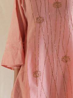 Pink Hand Embroidered Chanderi Kurta with Pants - Set of 2 Embroidery On Kurtis, Bead Embroidery Patterns, Hand Work Embroidery, Embroidery Suits, Hand Embroidery Designs, Beaded Embroidery, Kurta Designs Women, Blouse Designs, Kurta Patterns