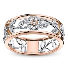 Simon G. 18K White and Rose Gold Diamond Anniversary Ring