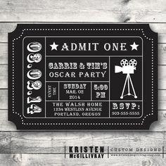 Oscar Party Ticket Invitation DIY Digital by KristenMcGillivray, $15.00
