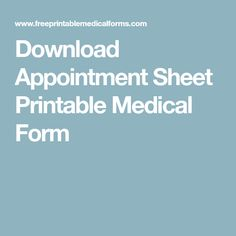 Download Appointment Sheet Printable Medical Form