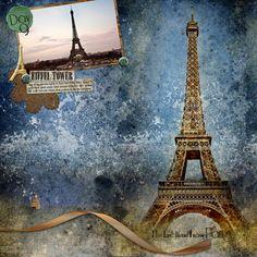 Eiffel Tower Scrapbook Layout - using Paris Maxi Kit