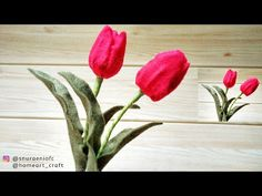 Realistic Tulip Felt Flowers - How to Make Tulip Felt Flowers. You are in the right place abo Zipper Flowers, Faux Flowers, Diy Flowers, Fabric Flowers, Felt Diy, Felt Crafts, Ribbon Flower Tutorial, Bow Tutorial, Diy Crafts How To Make