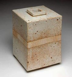Jan De Rooden, Holland, Large Square Vase, 1979, 9.5 x 6.1 x 6.1 in. stoneware