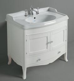 KSM0009, Landelijke badkamermeubel, onderkast met lade incl. wastafel, wit