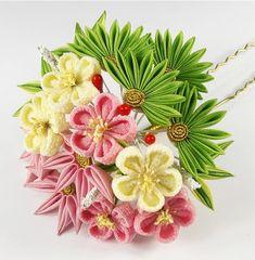 Kanzashi - Hair Ornaments for traditional Japanese Hairstyle with Kimono. Ribbon Art, Ribbon Crafts, Flower Crafts, Flower Art, Cloth Flowers, Fabric Flowers, Paper Flowers, Japanese Flowers, Japanese Fabric