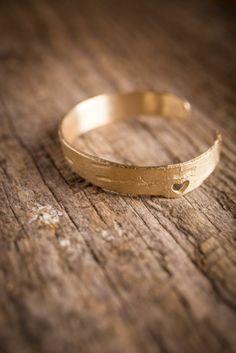 Brass-Dipped Birch #Bracelet (Matte Heart Cut-Out style) on BourbonandBoots.com