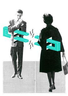 Siebdruck - PLURAL Siebdruck Collage A3 50er Liebe Mod Love - ein Designerstück von Morkebla bei DaWanda