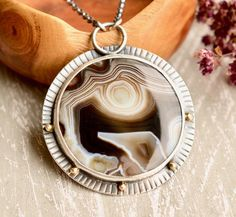 Brown Agate Necklace Textured Silver Necklace One of a Kind