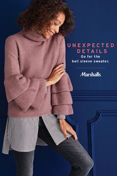 Unexpected details — a trend you'll see everywhere this fall! Update your closet with surprising layers in all different lengths. A bell sleeve sweater is the perfect staple to add to your wardrobe. Get inspired by fall trends at Marshalls! Explore your personal style for so much less.