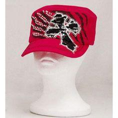 KBETHOS Pink Rhinestone Accented Cross Cadet Hat : Trendy Hats