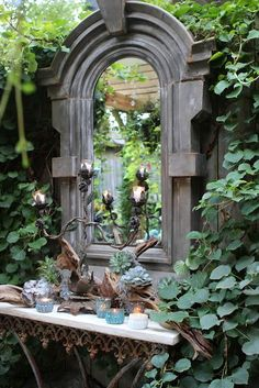 Flesh out the loveliness of your green space with the presence of garden mirrors. Having a courtyard with a tiny garden? Flesh out the loveliness of your green space with the presence of garden mirrors. Unique Gardens, Beautiful Gardens, Magical Gardens, Dream Garden, Garden Art, Garden Nook, Garden Bedroom, Garden Birds, Night Garden