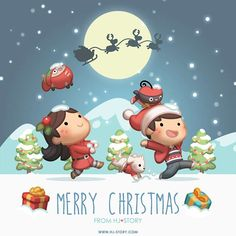 Merry Christmas My Love Christmas Quotes, Christmas Pictures, Christmas Time, Christmas Couple, Chibi Couple, Couple Cartoon, Cute Love Stories, Love Story, Hj Story
