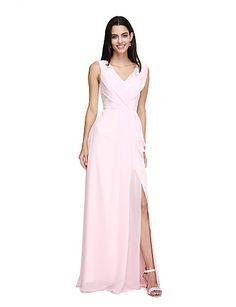 2bee932d0c24   109.99  Sheath   Column V Neck Floor Length Chiffon Bridesmaid Dress with  Pleats Split Front by LAN TING BRIDE®