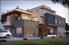 Sharma on Behance Modern House Facades, Modern Bungalow House, Modern House Plans, House Architecture Styles, Architecture Plan, Beautiful Architecture, Tropical House Design, Small House Design, Facade Design
