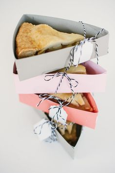 great way to give away pieces of cake, pie or tart   brown dress with white dots