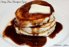 This Sticky Bun Breakfast Syrup tastes exactly like warm sticky bun sauce got poured on your pancakes. It is rich, full of cinnamon and ready in minutes. Making a pan of sticky buns takes hours. This is instant gratification and I love it! Copycat Cracker Barrel Pancakes, Brunch Recipes, Breakfast Recipes, Brunch Food, Pancake Recipes, Pastry Recipes, Bread Recipes, Buttermilk Pancakes, Blueberry Pancakes