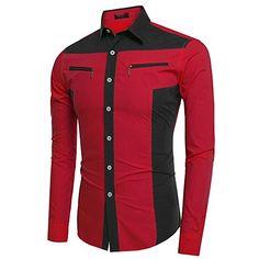 Mens Stylish Slim Fit Button Down Long Sleeve Shirt Lète…