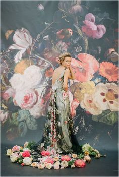 Sultry Dark Floral Wedding Ideas to Spice Things Up - wedding dress idea; Claire Pettibone