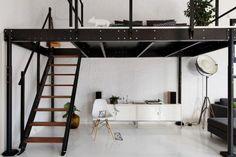 lit-mezzanine-deux-palces-métal-noir-chaise-design-meuble