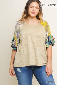 0da57bd3b32be Umgee Latte Top with Printed Ruffle Sleeves - Umgee Clothing | Boutique At  Audrey's featuring the web's largest selection | Russellville, AL