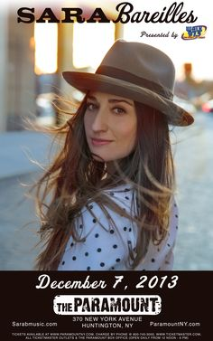 Sara Bareilles LIVE at The Paramount in Huntington, Ny on December 7th!