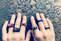 Macrame Rings, Macrame Jewelry, Macrame Bracelets, Hippie Style, Hippie Boho, Handcrafted Jewelry, Handmade Items, Adjustable Knot, Evil Eye Ring