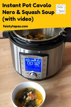 A delicious and super easy pressure cooked Instant Pot Cavolo Nero and Squash Soup recipe for the Instant Pot.   Includes a video recipe to make your life easier.   #feistytapas #instantpot Chorizo Recipes, Tapas Recipes, Easy Dinner Recipes, Meat Recipes, Potted Meat Recipe, Stove Top Recipes, Cooking Ingredients, Bowl Of Soup, Squash Soup