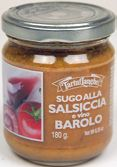 TartufLanghe Sausage and D.O.C.G.Barolo Wine Sauce (Used for pasta)  Tasty sauce, ideal to dress all kinds of fresh and dry pasta, gnocchi, ravioli, tortelli.  Our tasty sauces are prepared through a careful selection of the meat from Piemonte. They are ideal to dress all kinds of fresh and dry pasta, as well as gnochhi, ravioli, tortelli. They are also delicious to fill pastry shells or to dress polenta.  Available from Damiani Fine Foods Barolo Wine, Pastry Shells, Wine Sauce, Polenta, Ravioli, Gnocchi, Gourmet Recipes, Sauces