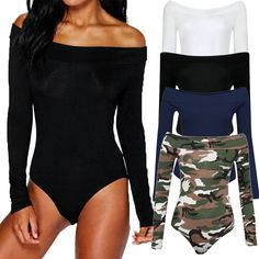 bff4d154ae Sexy Women Off Shoulder Bodysuits Stretch Leotard Tops Long Sleeve Jumpsuit  Camouflage Playsuit