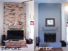 Image result for grey brick fireplace