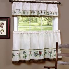 Springtime Tier and Valence Set.    Delicate floral bouquets beautify this delightful Tier & Valance Set.