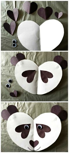 of Easy Valentine's Day Crafts for Kids valentine panda craftvalentine panda craft Valentine's Day Crafts For Kids, Daycare Crafts, Toddler Crafts, Preschool Crafts, Art For Kids, Diy Crafts, Kids Diy, Kindergarten Crafts, Preschool Learning